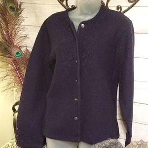 Karen Scott  dark blue sweater